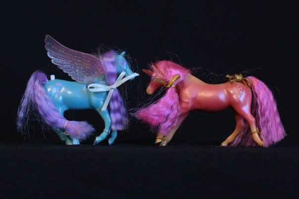Ariella & Flora; <h2>Ariella</h2> Body Color: Blue <br/>Hair Color: Purple/Alternate Yellow <br/>Breed: Pegasus Pink Wings <br/>Symbol: 3 Pink Flowers<br/>Brush: Pink <br/> Accessories: 2 White Ribbons<br/>Notes: See MIB photo for Yellow hair alternate version.<h2>Flora</h2>  Body Color: Reddish Orange and Orange<br/>Hair Color: Dark Pink <br/>Breed: Unicorn Pink Horn <br/>Symbol: White Spots <br/> Accessories: 2 Gold Ribbons<br/>Notes: