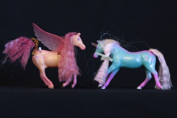 Mira & Ivy; <h2>Mira</h2> Body Color: Peach and Pink<br/>Hair Color: Coral Pink<br/>Breed: Pegasus Pink Wings <br/>Symbol: 3 Pink bow ties <br/>Brush: Pink<br/> Accessories: 2 Gold Ribbons <br/>Notes: <h2>Ivy</h2>  Body Color: Teal and Pink <br/>Hair Color: Light Pink <br/>Breed: Unicorn Pink Horn<br/>Symbol: 3 Pink Leaves (They look more like spades)<br/> Accessories: 2 Teal Ribbons<br/>Notes: Tail Braided. <br />Trading Card Story: Mira loves to make herself look pretty by adding bows and ribbons to her long hair. Her good friend Ivy loves to help by winding flowered vines through Mira's mane. The sparkle of Ivy's horn makes flowers blossom wherever she goes.